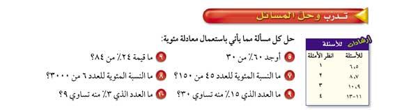 حل كل مسألة باستعمال معادلة مئوية ::