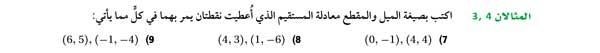 أكتب بصيغة الميل والمقطع معادلة المستقيم الذي أعطيت نقطتان يمر بهما
