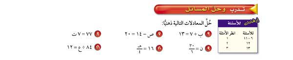 حل المعادلات التالية ذهنياً: