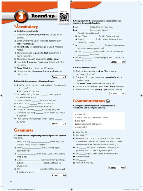 3round-up Vocabulary&Grammar&Communication