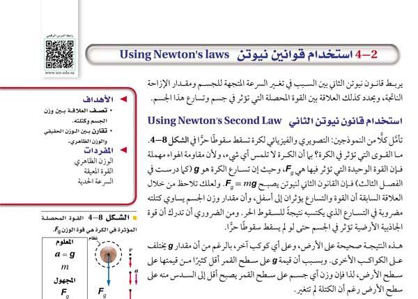 استخدام قانون نيوتن الثاني