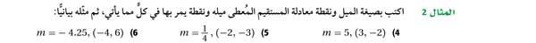 أكتب بصيغة الميل ونقطة معادلة المستقيم