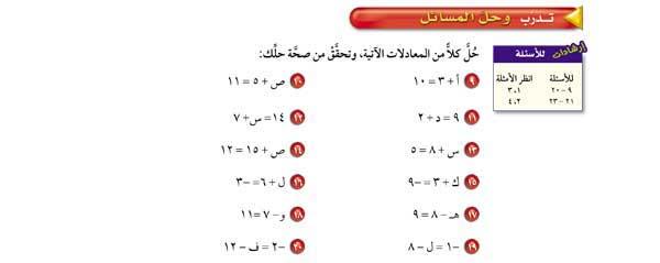 حل كلاً من المعادلات الآتية، وتحقق من صحة حلك: