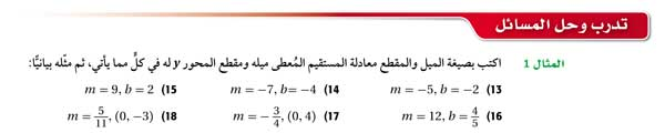 أكتب بصيغة الميل والمقطع معادلة المستقيم المعطى ميله ومقطع المحور
