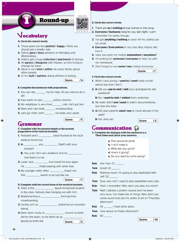 1round-up Vocabulary&Grammar&Communication
