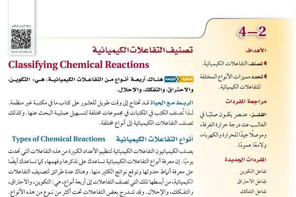 أنواع التفاعلات الكيميائية