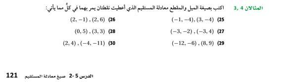 اكتب بصيغة الميل والمقطع ممعادلة المستقيم الذي أعطيت نقطتان يمر بهما