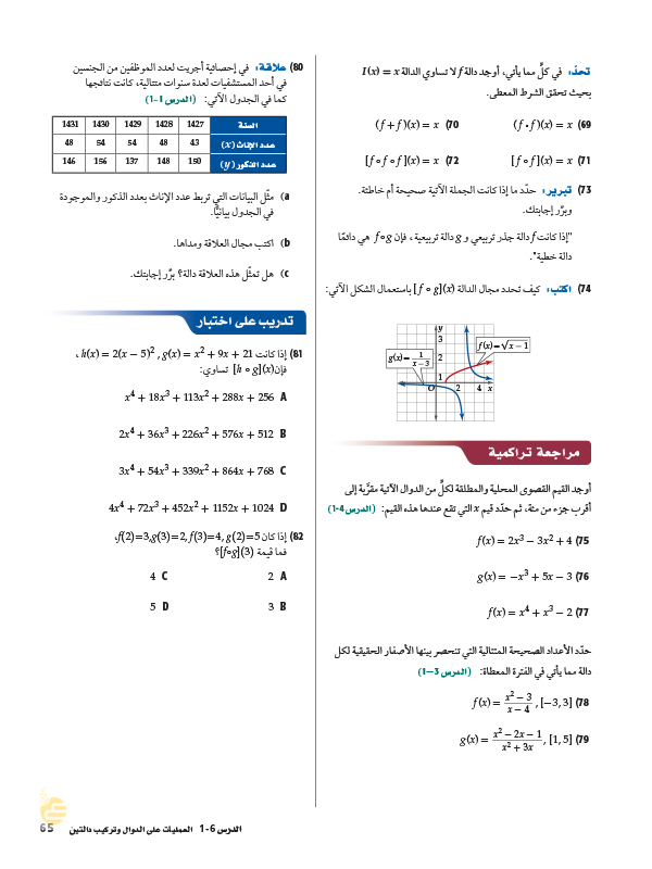 1-6 العمليات على الدوال وتركيب دالتين