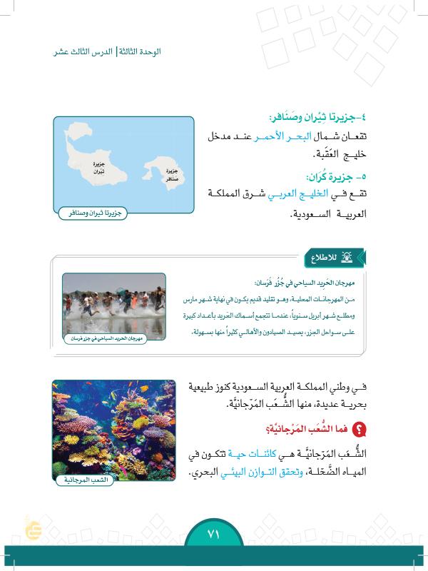 الدرس الثالث عشر: المناطق الساحلية والجزر