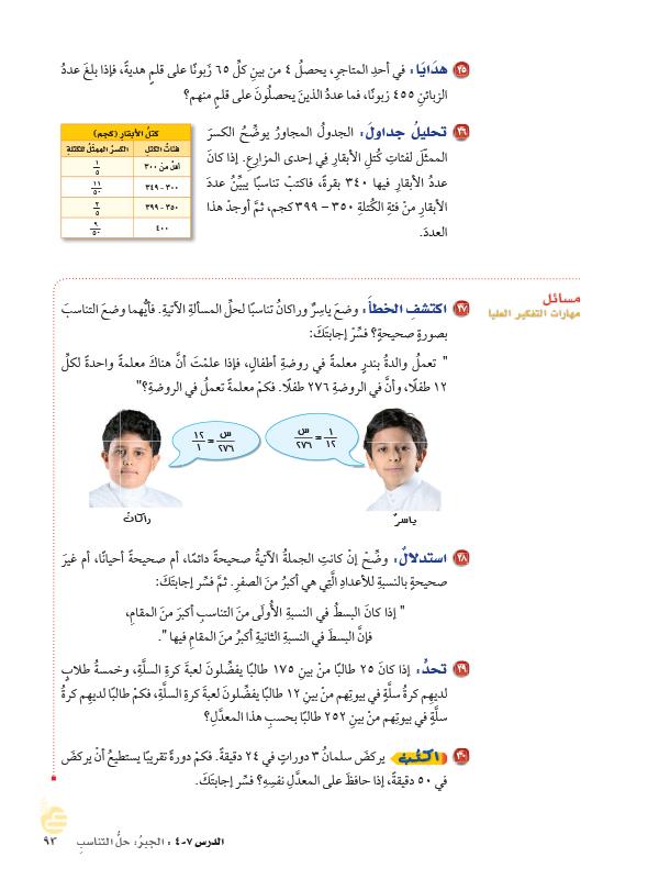 7-4 الجبر حل التناسب