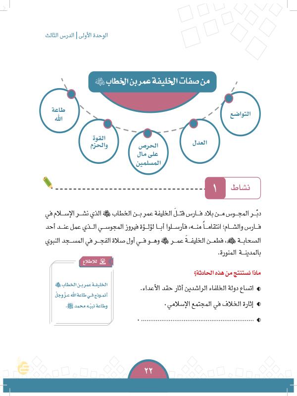 الدرس الثالث: الخليفة عمر بن الخطاب