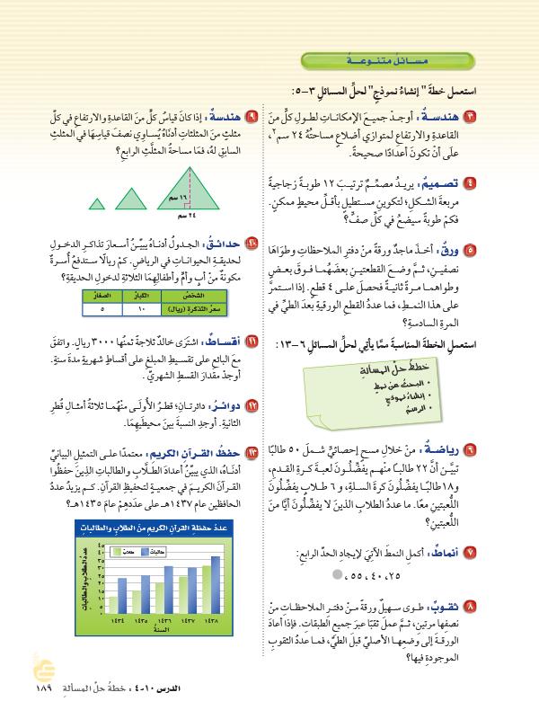 10-4  خطة حل المسألة إنشاء نموذج