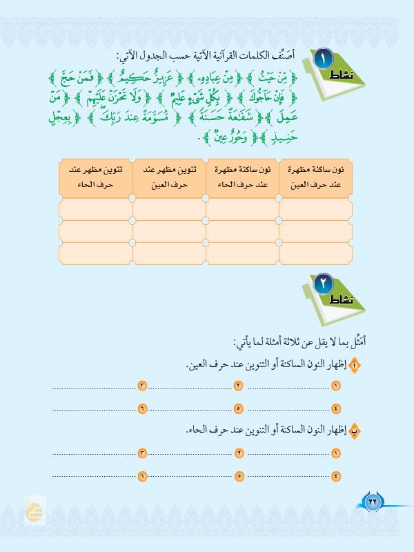 الدرس الرابع: حروف الاظهار (ع،ح)