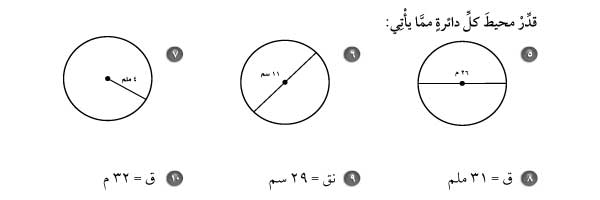قدر محيط كل دائرة