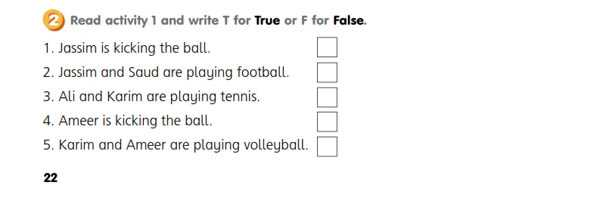 Read activity 1 and write T for True or F for False