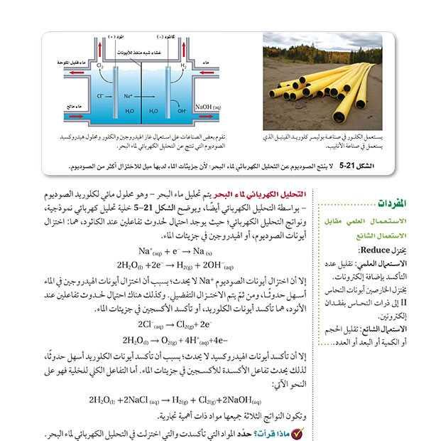 التحليل الكهربائي لماء البحر