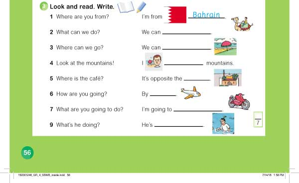 Look and read. Write