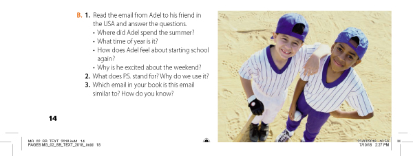 B. 1. Read the email from Adel to his friend