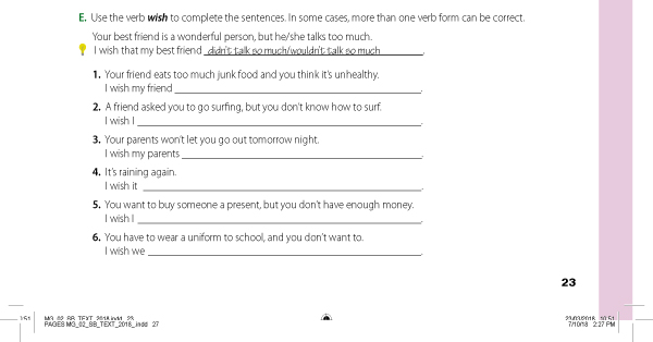 E. Use the verb wish to complete the sentences