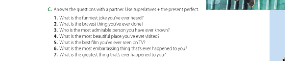 C. Answer the questions with a partner.