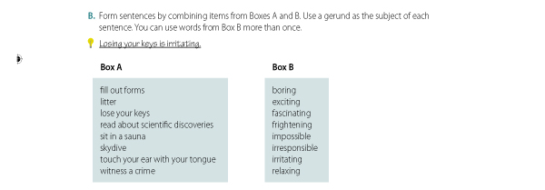 B. Form sentences by combining items from Boxes A and B