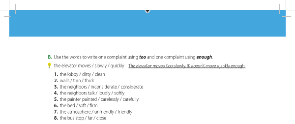 B. Use the words to write one complaint