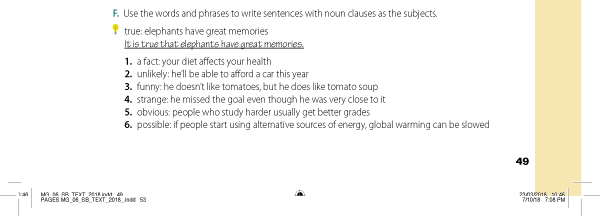 F. Use the words and phrases to write sentences