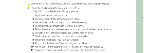 C. Combine each pair of sentences