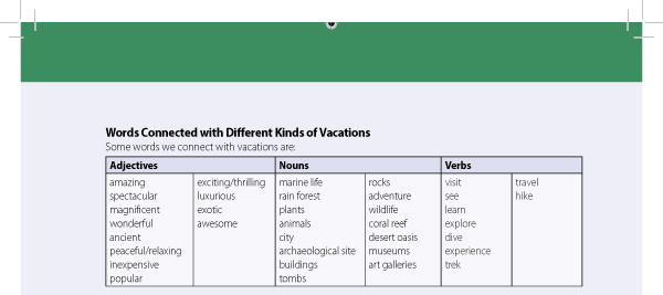 Words Connected with Different Kinds of Vacations