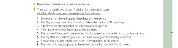 C. Rewrite each sentence as a passive sentence