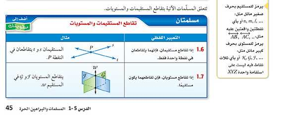 مسلمتان تقاطع المستقيمات والمستويات