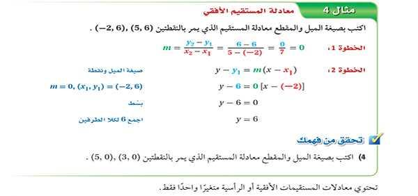 معادلة المستقيم الأفقي