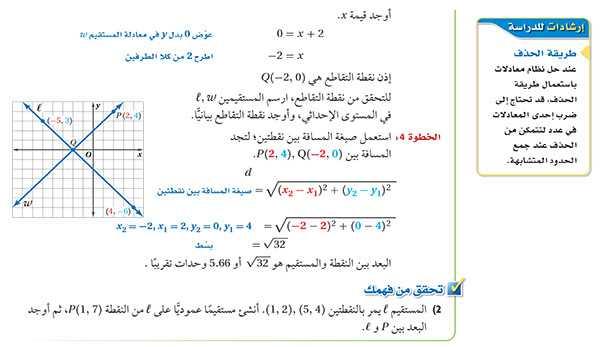 تابع البعد بين نقطة ومستقيم في المستوى الإحداثي