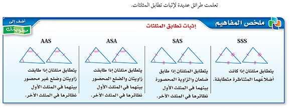 إثبات تطابق المثلثات