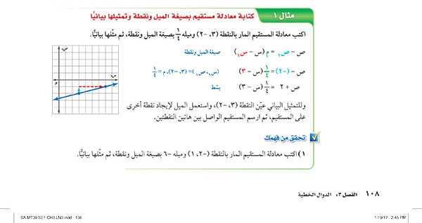 كتابة معادلة مستقيم بصيغة الميل ونقطة وتمثيلها بيانياً