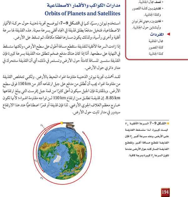 مدارات الكواكب والأقمار الاصطناعية