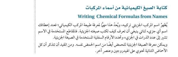 كتابة الصيغ الكيميائية من أسماء المركبات